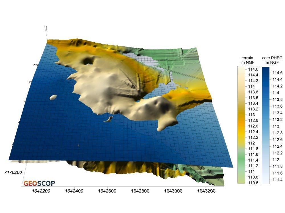 Plus hautes eaux connues 3D